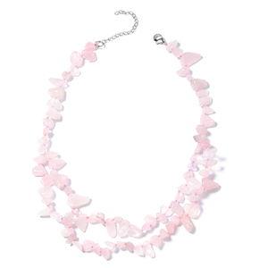 Galilea Rose Quartz Chips Silvertone Necklace (18 in) TGW 345.50 cts.