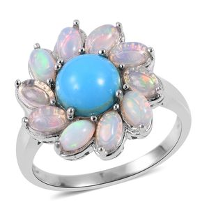 Arizona Sleeping Beauty Turquoise, Ethiopian Welo Opal Platinum Over Sterling Silver Ring (Size 7.0) TGW 3.54 cts.