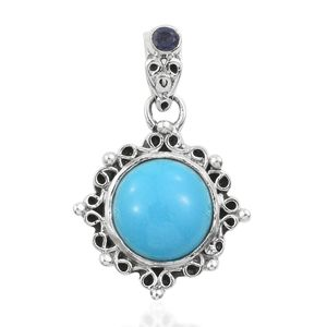 Artisan Crafted Arizona Sleeping Beauty Turquoise, Catalina Iolite Sterling Silver Pendant without Chain TGW 4.10 cts.