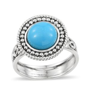 Artisan Crafted Arizona Sleeping Beauty Turquoise Sterling Silver Ring (Size 7.0) TGW 4.30 cts.