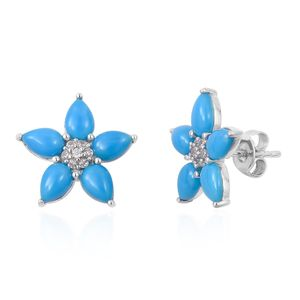 Arizona Sleeping Beauty Turquoise, White Zircon Platinum Over Sterling Silver Floral Stud Earrings TGW 3.49 cts.