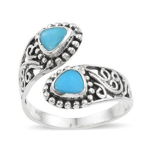 Artisan Crafted Arizona Sleeping Beauty Turquoise Sterling Silver Openwork Bypass Ring (Size 5.0) TGW 1.24 cts.