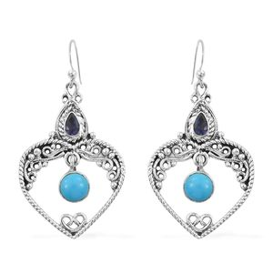 Artisan Crafted Arizona Sleeping Beauty Turquoise, Catalina Iolite Sterling Silver Heart Inner Drop Dangle Earrings TGW 1.94 cts.