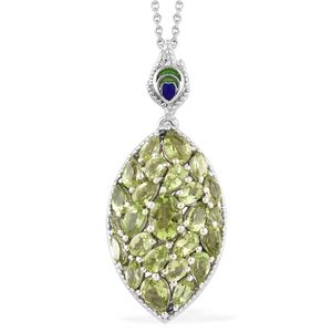 Hebei Peridot Platinum Over Sterling Silver Pendant With Chain (20 in) TGW 5.97 cts.