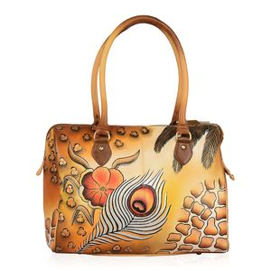 SUKRITI - Brown Safari Hand Painted Genuine Leather Shoulder Bag with Standing Studs (14.8x5x12 in)