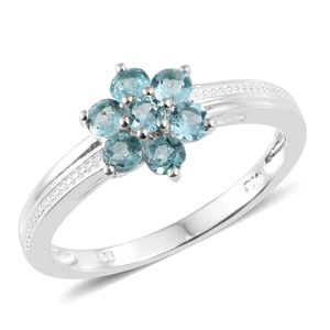 Madagascar Paraiba Apatite Sterling Silver Ring (Size 7.0) TGW 0.75 cts.