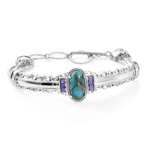 TLV Mojave Blue Turquoise, Simulated Purple Diamond Stainless Steel Bangle (7.25 in) TGW 5.45 cts.