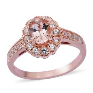 Luxury For Less Marropino Morganite, Cambodian White Zircon 14K RG Over Sterling Silver Ring (Size 7.0) TGW 2.04 cts.