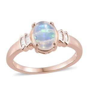 Luxury For Less Ethiopian Welo Opal, Diamond Vermeil RG Over Sterling Silver Ring (Size 5.0) TDiaWt 0.10 cts, TGW 1.55 cts.