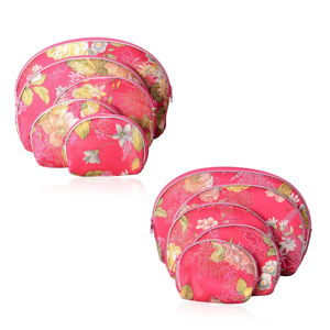 Set of 10 Pieces Rose Red Flower Pattern Polyester, Rayon Fabric Jewelry Bags (8.7x5.7, 6.9x4.7, 5.5x3.9, 4.3x3.5, 3.5x2.9 in)