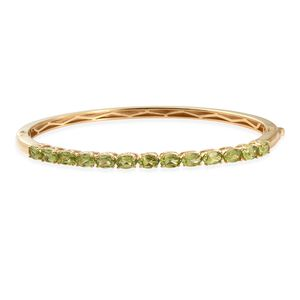 KARIS Collection - Hebei Peridot ION Plated 18K YG Brass Bangle (8 in) TGW 6.40 cts.