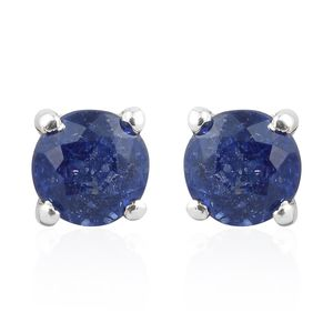 Masoala Sapphire Platinum Over Sterling Silver Stud Earrings TGW 0.82 cts.