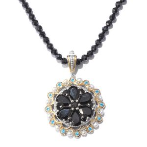 Thai Black Spinel, Multi Gemstone Vermeil YG & Platinum Over Sterling Silver Pendant With Beaded Necklace (20 in) TGW 86.17 cts.