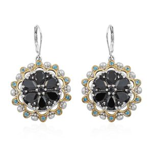 Thai Black Spinel, Multi Gemstone Vermeil YG and Platinum Over Sterling Silver Lever Back Earrings TGW 15.38 cts.