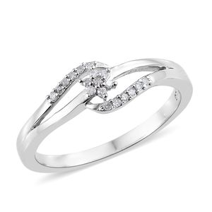 Diamond Platinum Over Sterling Silver Ring (Size 7.0) TDiaWt 0.10 cts, TGW 0.10 cts.