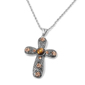 South African Tigers Eye, Champagne Color Austrian Crystal Black Oxidized Stainless Steel Cross Pendant With Chain (20 in) TGW 11.00 cts.