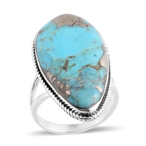 Santa Fe Style Turquoise Lava Sterling Silver Split Ring (Size 7.0) TGW 2.25 cts.