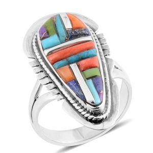 Santa Fe Style Kingman Turquoise, Multi Gemstone Sterling Silver Ring (Size 10.0) TGW 2.00 cts.