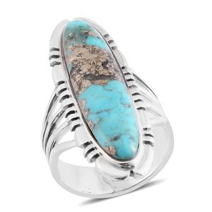 Santa Fe Style Turquoise Lava Sterling Silver Ring (Size 8.0) TGW 3.50 cts.