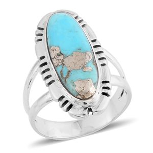 Santa Fe Style Turquoise Lava Sterling Silver Ring (Size 7.0) TGW 3.50 cts.