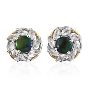 Canadian Ammolite, White Topaz Vermeil YG and Platinum Over Sterling Silver Stud Earrings TGW 3.18 cts.