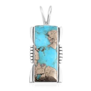 Santa Fe Style Turquoise Lava Sterling Silver Pendant without Chain TGW 5.50 cts.