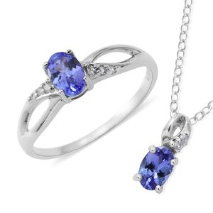 Premium AAA Tanzanite, Cambodian White Zircon Sterling Silver Ring (Size 7) and Pendant With Chain (18 in) TGW 1.06 cts.