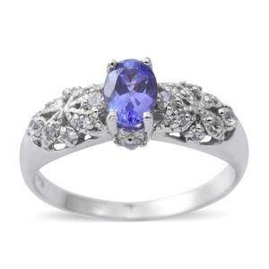 Premium AAA Tanzanite, Cambodian White Zircon Sterling Silver Ring (Size 6.0) TGW 1.19 cts.