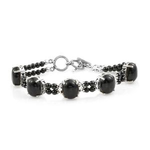 Artisan Crafted Burmese Black Jade, Thai Black Spinel Sterling Silver Bracelet (8.00 In) TGW 42.88 cts.
