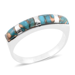 Santa Fe Style Mojave Turquoise Sterling Silver Band Ring (Size 8.0) TGW 3.50 cts.