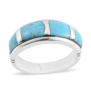 Santa Fe Style Kingman Turquoise Sterling Silver Band Ring (Size 9.0) TGW 5.50 cts.