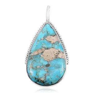 Santa Fe Style Turquoise Lava Sterling Silver Pendant without Chain TGW 8.50 cts.