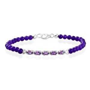 Purple Quartzite, Amethyst Platinum Over Sterling Silver Bracelet (7.25 In) TGW 17.20 cts.