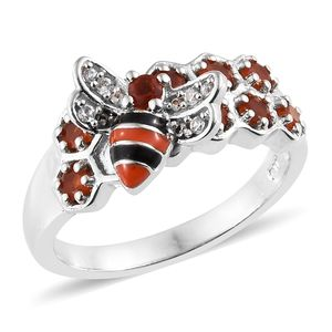 Jalisco Fire Opal, Cambodian Zircon Platinum Over Sterling Silver Ring (Size 7.0) TGW 0.59 cts.