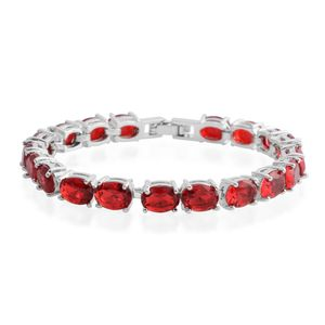 Simulated Ruby Silvertone Bracelet (7.00 In) TGW 24.70 cts.