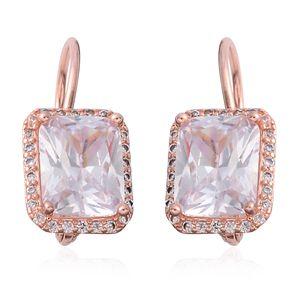 Simulated Diamond Rosetone Lever Back Earrings TGW 6.15 cts.