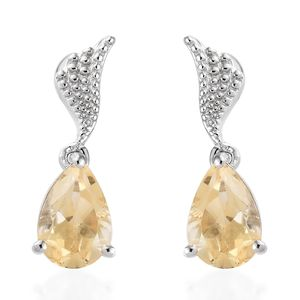 KARIS Collection - Brazilian Citrine Platinum Bond Brass Earrings TGW 4.30 cts.