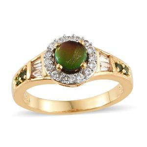 Canadian Ammolite, Multi Gemstone Vermeil YG Over Sterling Silver Ring (Size 9.0) TGW 1.52 cts.
