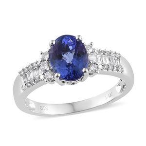 14K WG Premium AAA Tanzanite, Diamond Ring (Size 8.0) TDiaWt 0.28 cts, TGW 2.28 cts.