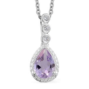 Rose De France Amethyst, Simulated Diamond Sterling Silver Pendant With Stainless Steel Chain (20 in) TGW 1.79 cts.
