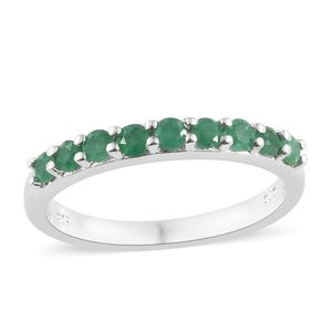Premium Emerald Platinum Over Sterling Silver Ring (Size 9.0) TGW 0.61 cts.