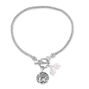 Bali Legacy Collection Freshwater Pearl Sterling Silver Bracelet (7.50 In)