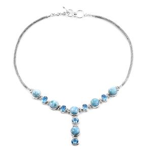 Bali Legacy Collection Larimar, Swiss Blue Topaz Sterling Silver Y Necklace (18 in) TGW 36.25 cts.