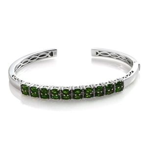 Russian Diopside Platinum Over Sterling Silver Cuff (7.25 in) TGW 5.36 cts.
