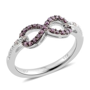 Purple Diamond (IR), Diamond Sterling Silver Eight Figure Ring (Size 6.5) TDiaWt 0.20 cts, TGW 0.20 cts.