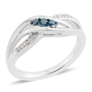 Blue Diamond (IR), Diamond Sterling Silver Bypass Ring (Size 6.5) TDiaWt 0.10 cts, TGW 0.10 cts.