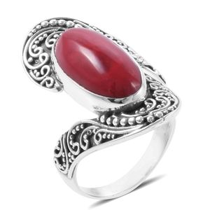 Bali Legacy Collection Sponge Coral Sterling Silver Bypass Ring (Size 7.0)