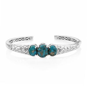 Persian Turquoise, Tanzanite Platinum Over Sterling Silver Openwork Trilogy Cuff (7.25 in) TGW 10.54 cts.