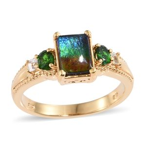 Canadian Ammolite, Multi Gemstone Vermeil YG Over Sterling Silver Ring (Size 7.0) TGW 2.00 cts.