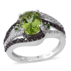 Hebei Peridot, Multi Gemstone Platinum Over Sterling Silver Ring (Size 7.0) TGW 3.76 cts.